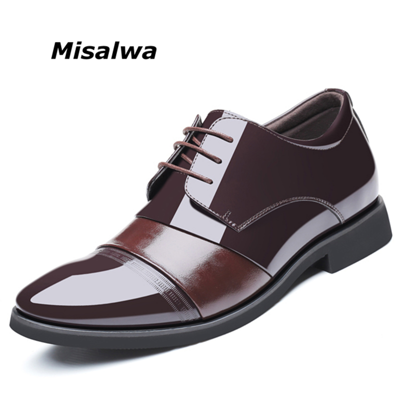 Misalwa Stealth Height Increasing Elevator Shoes Hidden Insole Men Dress Shoes Jointed Leather Business Wedding Shoes 2018 height increasing leather business men slip on dress shoes split leather wedding shoes for men size 38 43