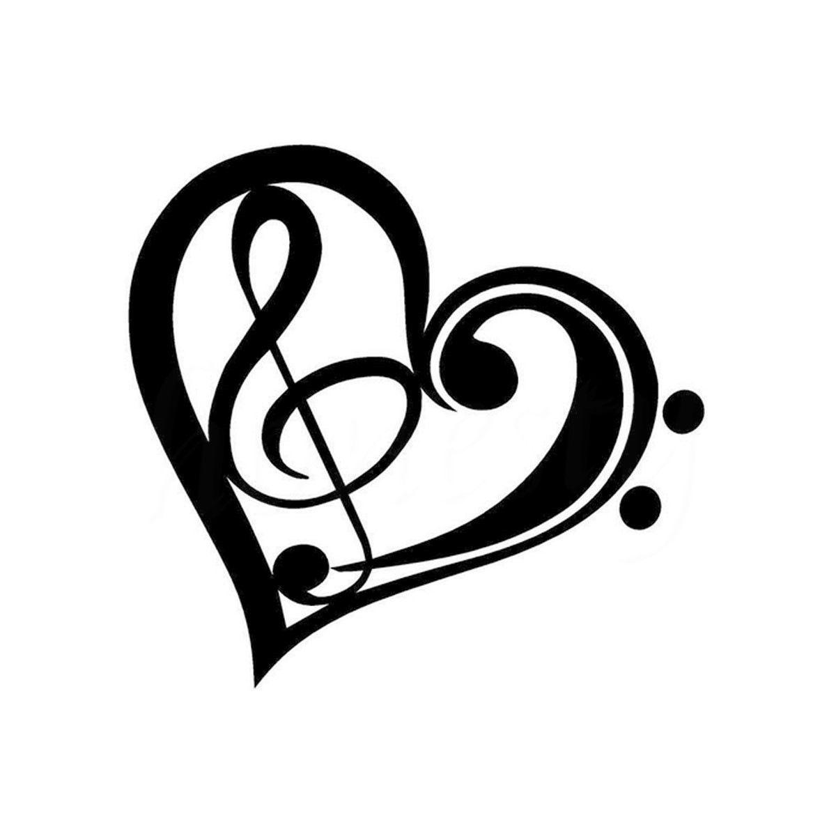 Music Heart Car Truck Window Stickers Body Bumper Sticker