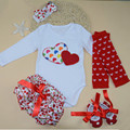 Spring And Autumn Fashion Infant Baby Clothing Sets Cotton Long Sleeve Bodysuit And Culottes 5 Ppiece Set Baby Girls Clothes