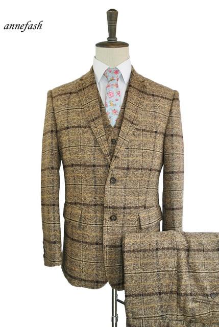 a06f91c3b3c2b Custom made sprawdzić kurkuma szyba sprawdź plaid mężczyźni garnitur  wełniany Młodzieży mężczyźni na co dzień garnitur