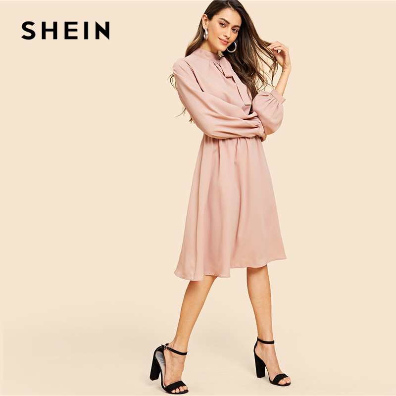 0ac54327f6 SHEIN Pink Vintage Elegant Solid Tie Neck Pleat Detail Balloon Sleeve Knee  Length Dress Autumn Workwear Women Dresses-in Dresses from Women's Clothing  on ...
