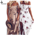 Sesoaf verano 2017 bohemio backless dress mujeres de la impresión floral de la manera raya vertical vestidos de cuello vestidos de playa primavera estilo dlp21503