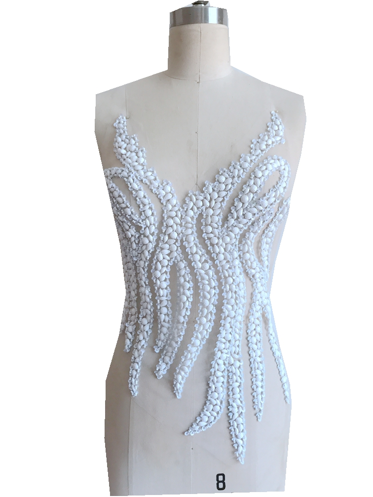 Ivory white Hand made crystals trim patches sew on Rhinestones sequins applique on mesh 48*30cm