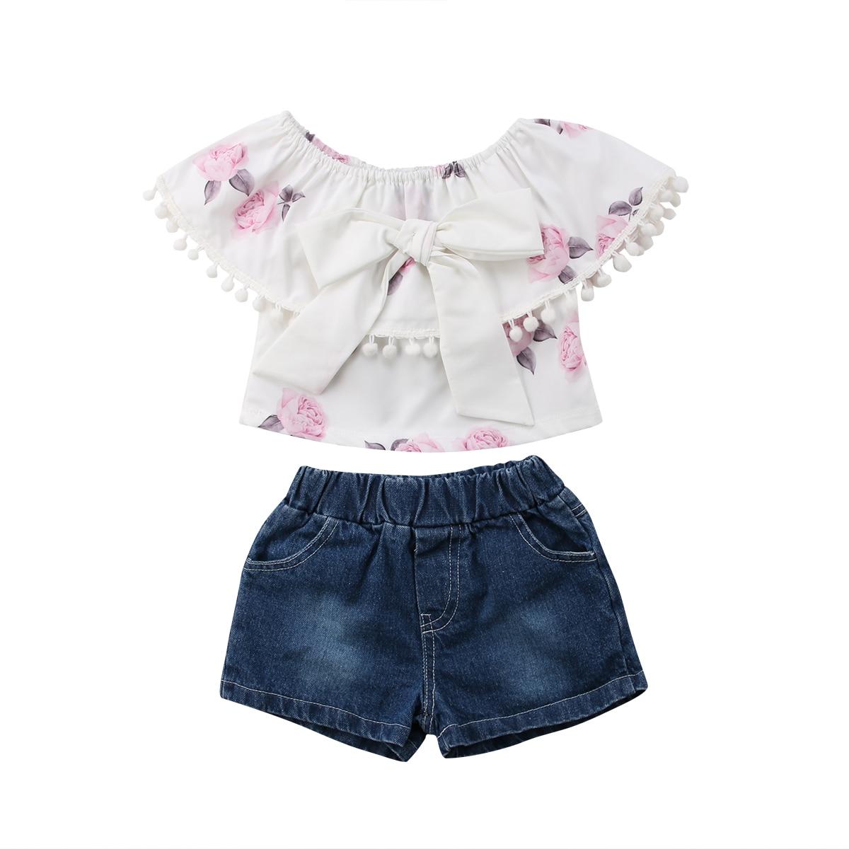 Denim Shorts Pants Jeans Outfits Clothes 2Pcs//Set Kids Baby Girl Off shoulder Flower T-shirt Tops