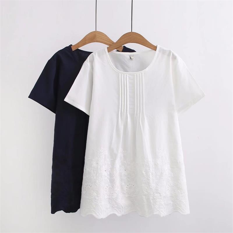 Plus size cotton Embroidered women summer t shirt 2018 ladies short sleeve O-Neck tee shirts femme white & dark blue t-shirt 4XL
