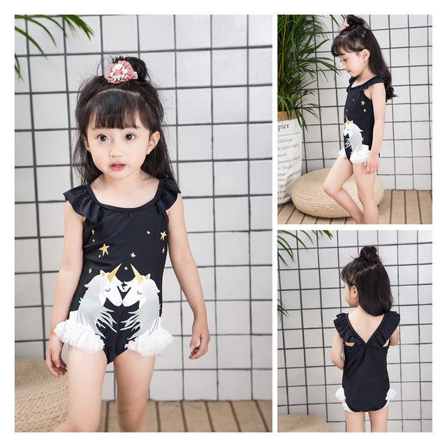 Girl Swimming Suit 2018 New Children Sunscreen Clothes 2018 Baby Sandy Beach Swimwear Costume Kids One Piece Girls Swim Wear