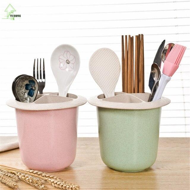 YI HONG Wheat Straw Chopstick Multifunction Drain Chopsticks Holder,  Kitchen Cutlery Storage Box Chopstick Box