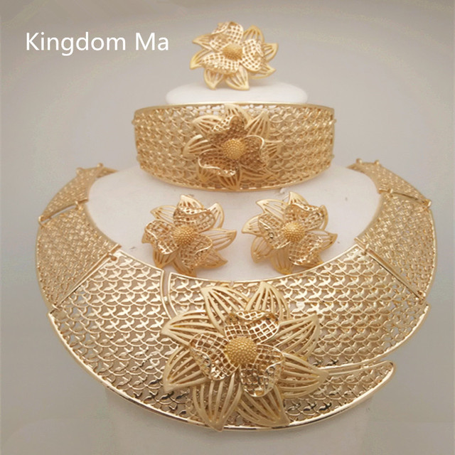 Kingdom Ma African Nigerian Wedding Bridal Big Flower Jewelry Sets Dubai Gold Color Crystal Necklace Bracelet Earrings Ring Set