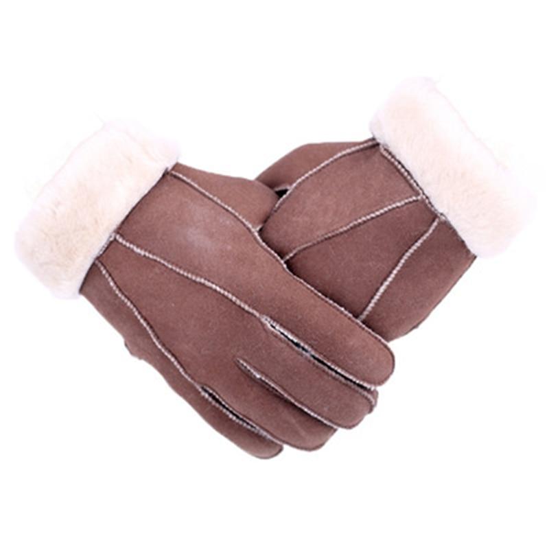 Fashion Genuine Fur Gloves Men Sheepskin Mittens Real Fur Sheep Leather Gloves Winter Solic Warm True