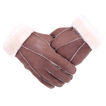 Fashion Genuine Fur Gloves Men Sheepskin Mittens Real Fur Sheep Leather Gloves Winter Solic Warm True Sheepskin Gloves For Men