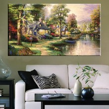 Country House Wall Art Room Decoration Famous Thomas Kinkade Reproduction Pastoral Cottage Lakeside Landscape Prints Canvas