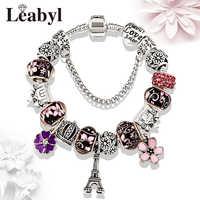 5 colores París Torre Eiffel pulsera de cuentas linda flor cristal encanto pulseras y brazaletes para mujeres Diy joyería regalo