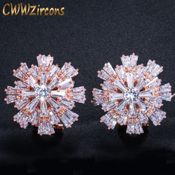 CWWZircons Luxury Cubic Zirconia Jewelry Rose Gold Color Large Sparkling Snowflake Big Zircon Crystal Earrings For Girls CZ137