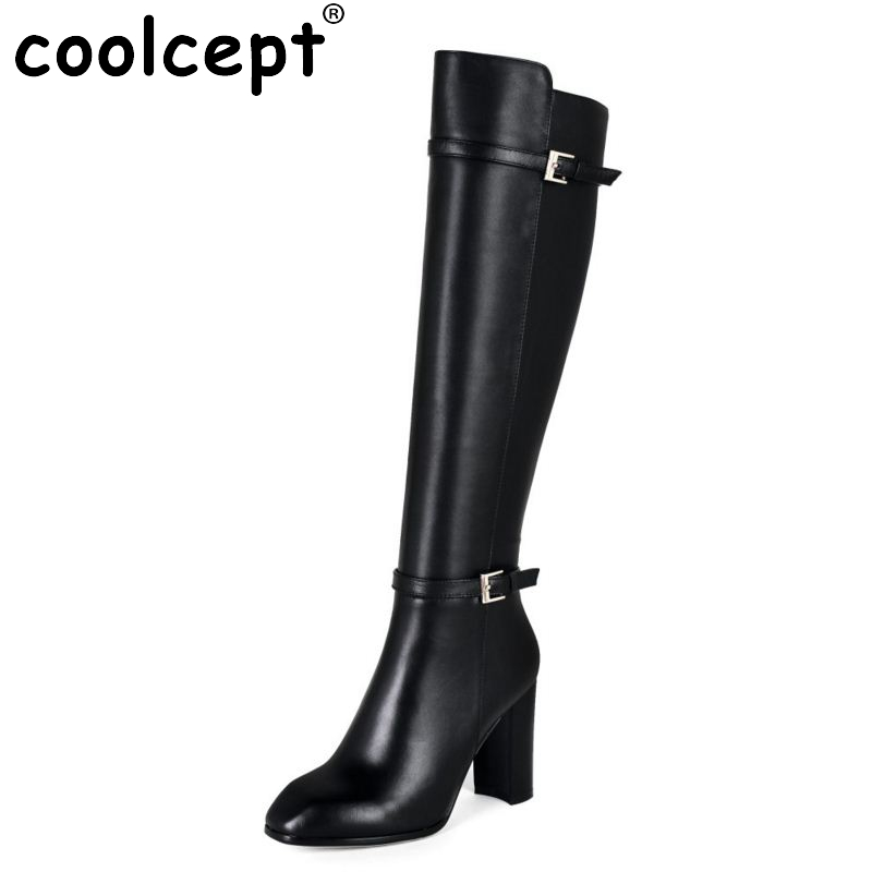 ФОТО Women Real Leather Over Knee Boots Winter Snow Boots Sexy High Heel Fashion Zip Women Riding Black Boots Women Shoes Size 34-39