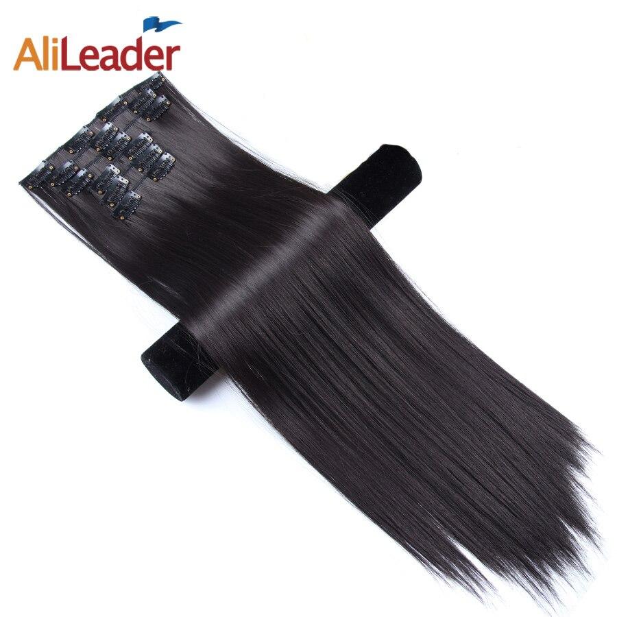 Alileader Clip Dans Les Cheveux Extensions 22 pouce 16 Couleurs Pleine Tête 16 Clips Sur Cheveux Synthétiques Postiches Pour Les Femmes 6 pcs/ensemble Cheveux Longs