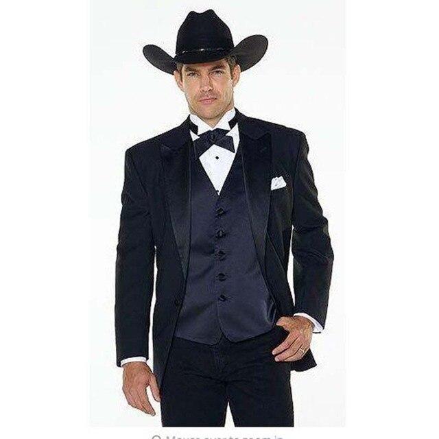 6c992b1ae70591 (Jakcet + Pants + marineblau Weste) kerbe Revers Western Cowboy Stil herren  anzug schwarz