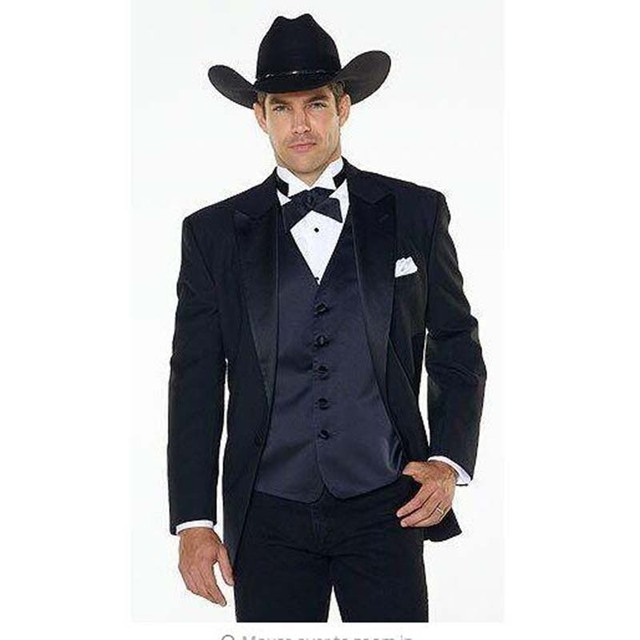 Jakcet Pants Navy Blue Vest Notch Lapel Western Cowboy Style Mens Suit