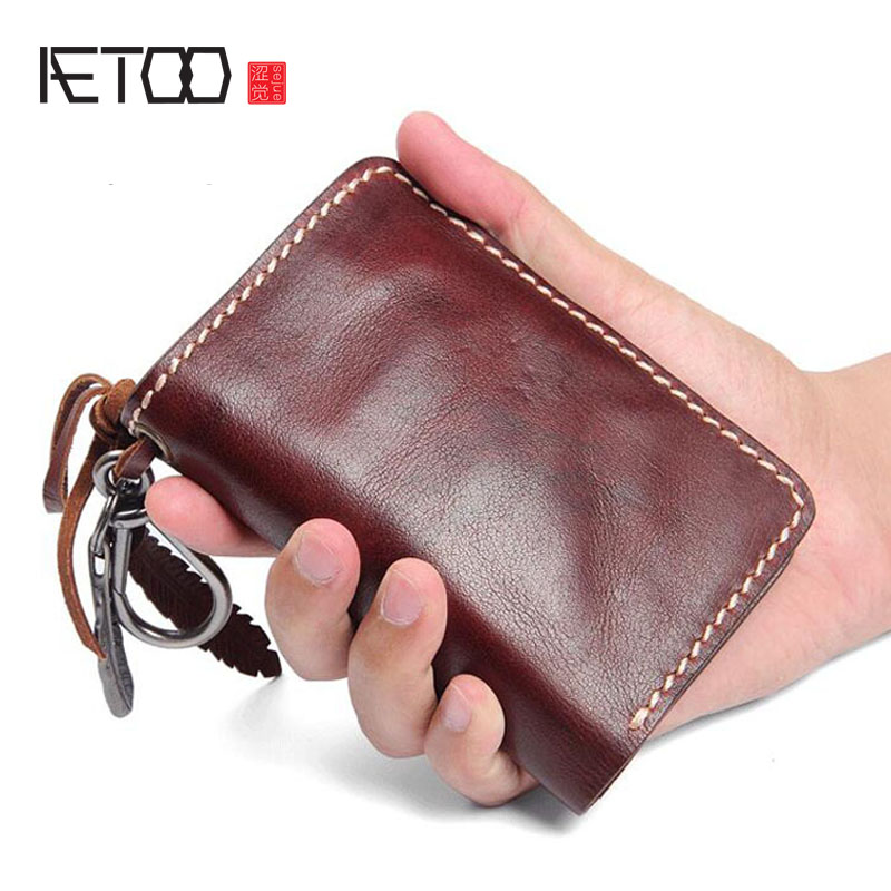 Фото AETOO Original handmade leather wallet men models short paragraph leather retro wallet multi-functional personality buckle