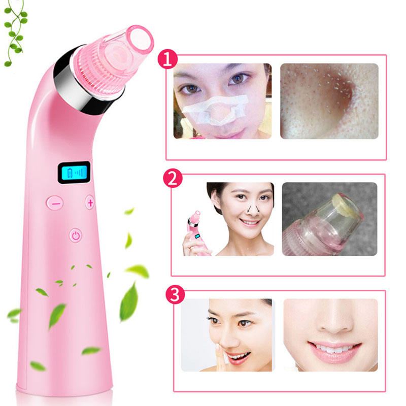 New 5 Level Blackhead Vacuum Suction Cleaner Dermabrasion 3 Modes Facial Pores Comedo Acne Remover Face Skin Cleansing Machine newdermo electric face beauty diamond dermabrasion machine blackhead vacuum remover