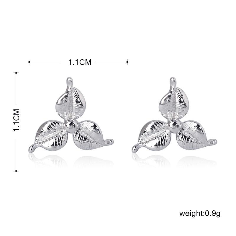 Funmor Flower Plant Stud 925 Sterling Silver Earrings Simple Ear Jewelry For Women Girls Daily Vacation Summer Decoration Bijoux