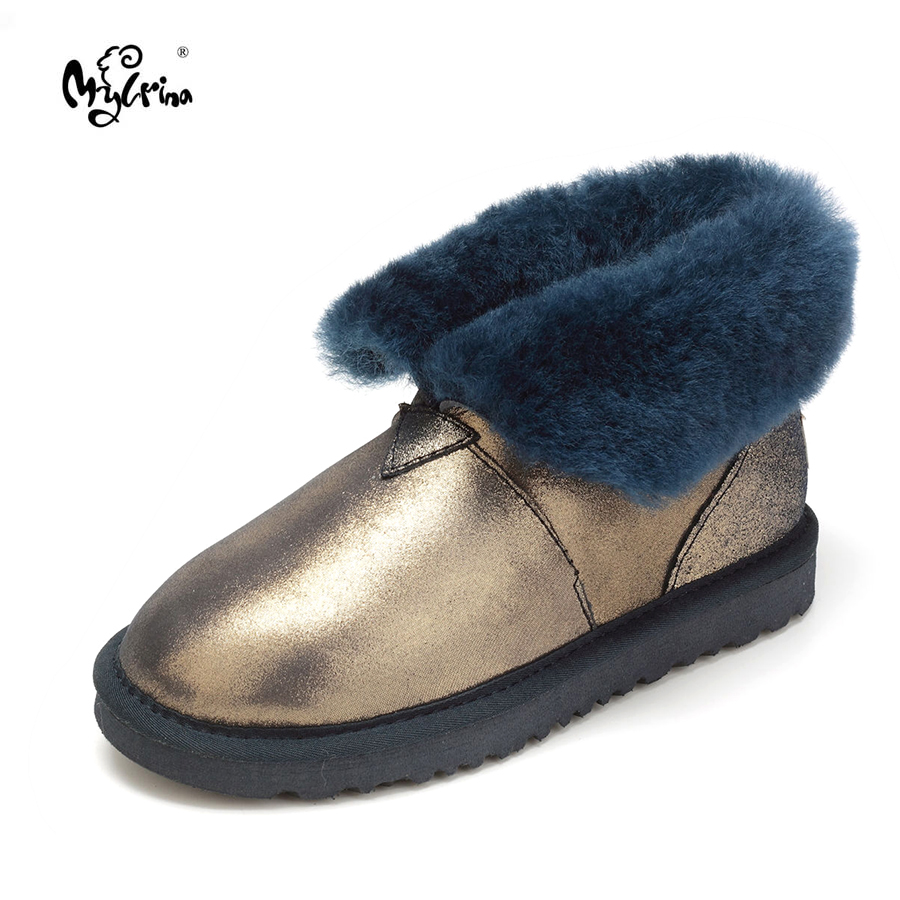 MYLRINA Top Quality New Fashion Genuine Sheepskin Leather Snow Boots 100% Natural Fur Warm Women Shoes Real Wool Mujer Botas top quality 2018 new fashion 100% genuine sheepskin leather snow boots natural fur mujer botas warm wool non slip winter shoes