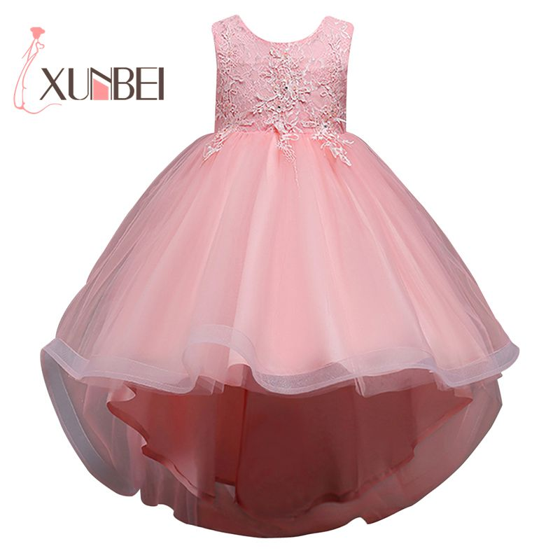 Hi-Low Organza Pink Flower Girl Dresses 2019 Appliqued Girls Pageant Dresses First Communion Dress Wedding Party Dress