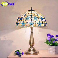 FUMAT 12/14/16 Inch Lilac Shell Table Lamp Mediterranean Blue Beads Decoration Desk Lamp European Bedroom Table Lamp