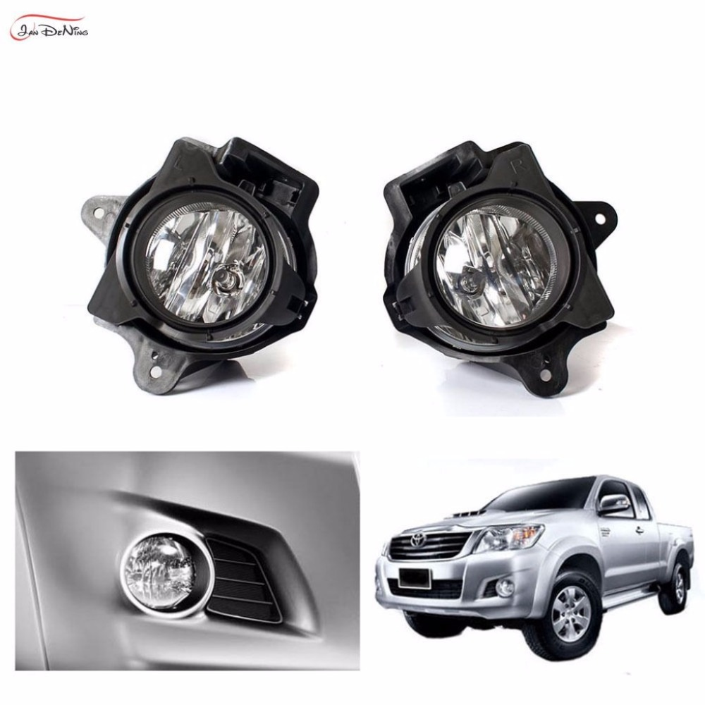 JanDeNing Car Fog Lights For TOYOTA HILUX VIGO 2014 ~ ON Clear Front Fog Lamp Cover Trim Replace Assembly kit black (one Pair) car fog lights lamp for mitsubishi triton 2 door 2009 on clear lens pair set wiring kit fog light set free shipping