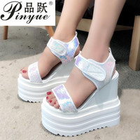 Fish mouth muffin bottom Women's shoes Summer new Korean version of the wild increase sneakers Roman slope with thick sandals