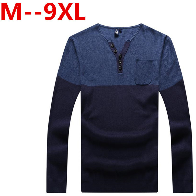 Ali 9XL 8XL 6XL 5XL New Arrival v-Neck Wool Sweater Men Brand-Clothing Knitted Cashmere Pullover Men Slim Fit Bottoming shirt