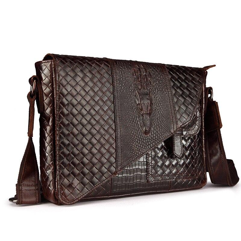 Luxury Alligator Pattern REAL Genuine Leather Bag Vintage Knitting Designer Shoulder Bag Cool Retro Cowskin Men Messenger Bags