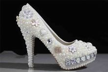 2016 Nicest custom made handmade Pearl High Heel wedding shoes Rhinestone Crystal bridal shoes wedding shoes 35-43