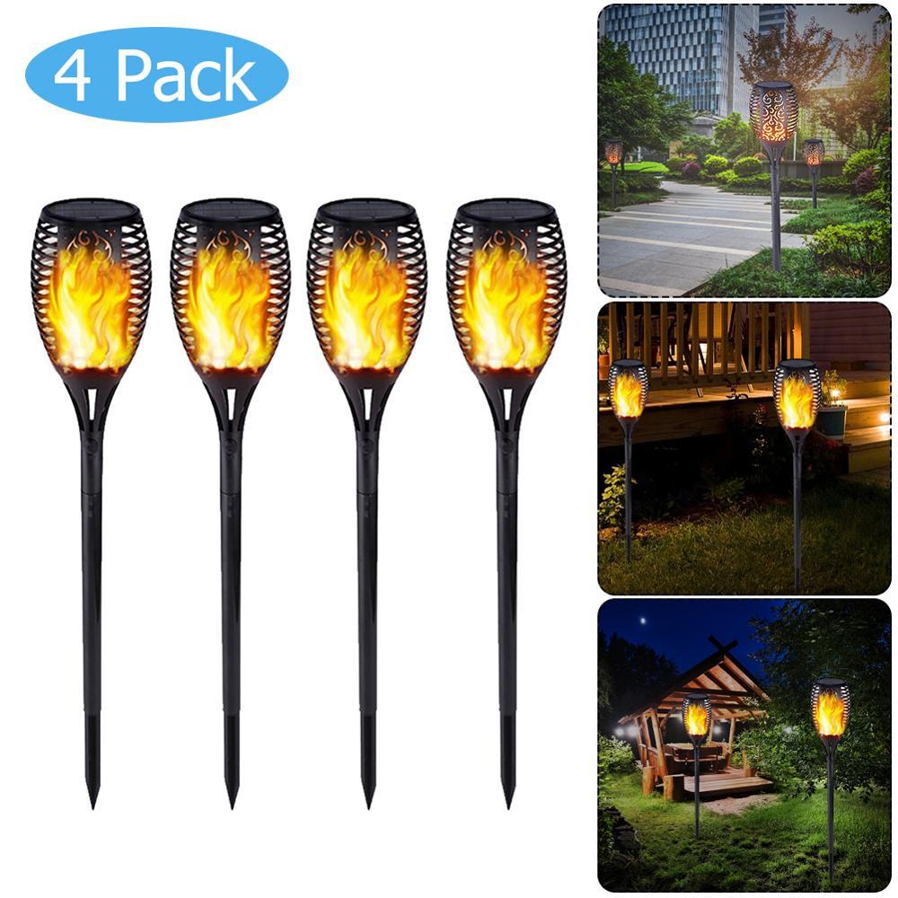 72LED Solar Flame Light Outdoor Waterproof Garden Courtyard Lawn Torch Lamp Fire Camp Garden Decoration Solar Lamp IP65 1/ 4PCS