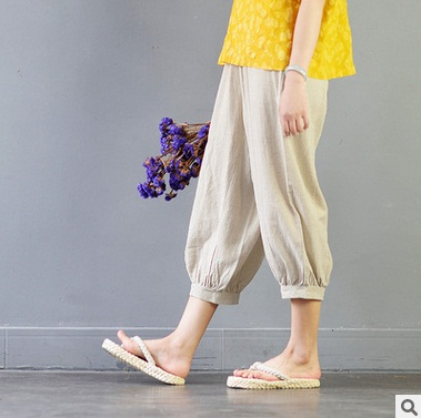 2017 summer product launches, original design womens 100% cotton linen loose big yards wide leg pant