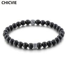 Chicvie повседневные 6 мм матовый оникс мужские браслеты из