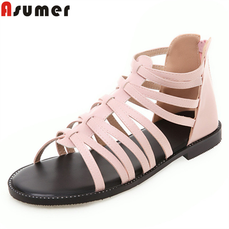 Asumer Sandals Female Shoes Comfortable Flat Big-Size Casual Women New 34-43 Zip Gladiator