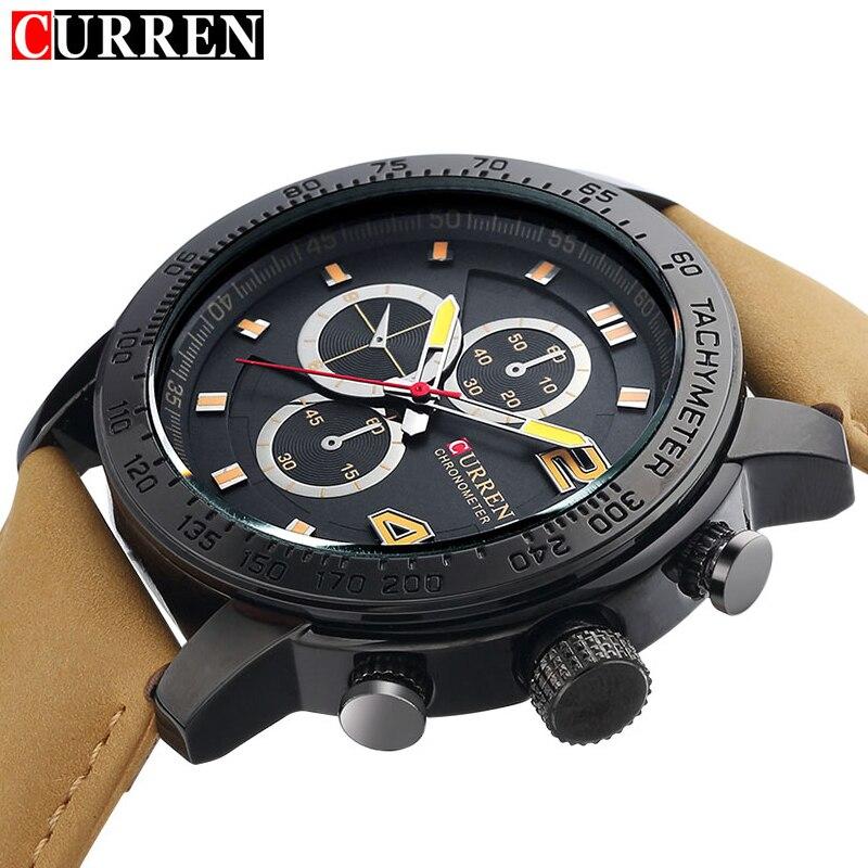 Prix pour 2017 curren 8190 montres hommes de sport de luxe casual quartz heure horloge bracelet en cuir robe montre-bracelet relogio masculino hommes cadeaux