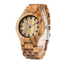 YISUYA Nature Stripe Wood Wrist Watch Men Simple Bamboo Wood