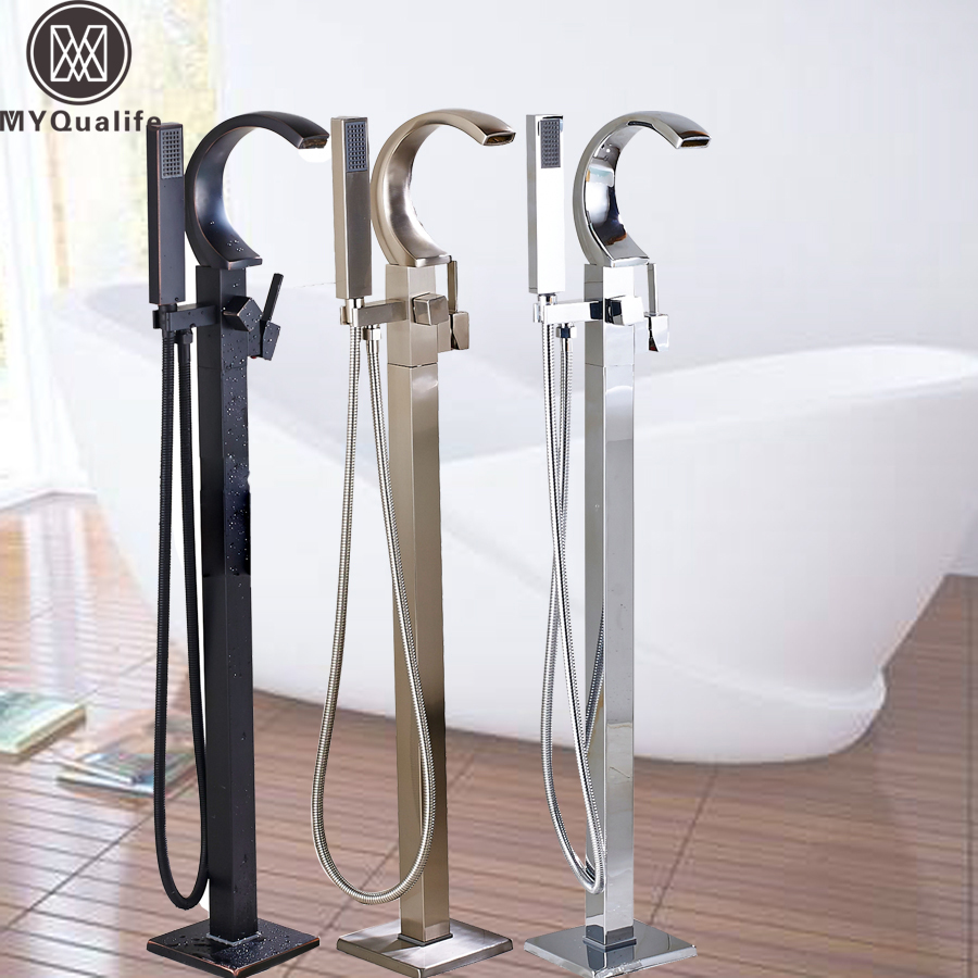 Free Standing Brass Black Bathtub Faucet Single Handle Handheld Head Bath Shower Set Claw Floor Mounted