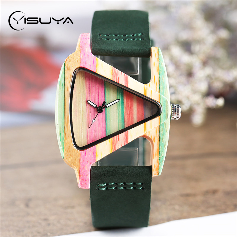 YISUYA Women Creative Triangle Wooden Watches Colourful Analog Quartz Fashion Ladies Cute Bamboo Leather Wristwatch Clock Gifts yisuya luxury wooden watches for men vintage analog quartz handmade walnut zebra bamboo wood band wristwatch clock gifts reloj