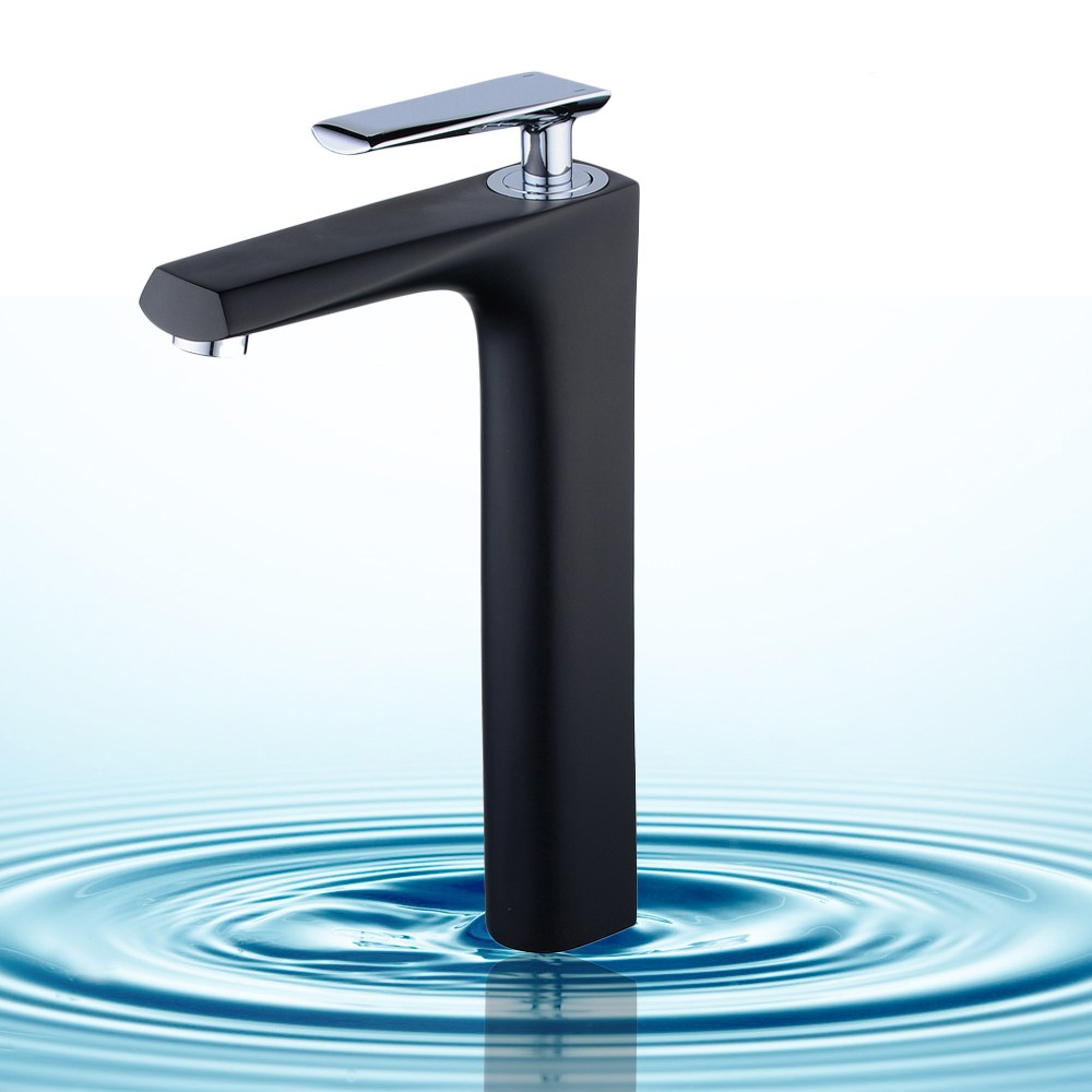 Tall Black Bathroom Faucet Solid Brass Bathroom Solid Basin Sink Faucet Cold and Hot Water Single Handle/Hole Mixer Tap newest washbasin design single hole one handle bathroom basin faucet mixer tap hot and cold water orb chrome brusehd