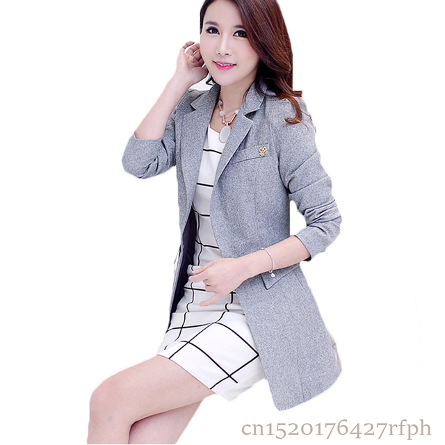 aa1e4da1efd 2018 New Spring Autumn Women Long Blazers Korean Long Sleeve Business Suits  Jackets Coats Casual Slim