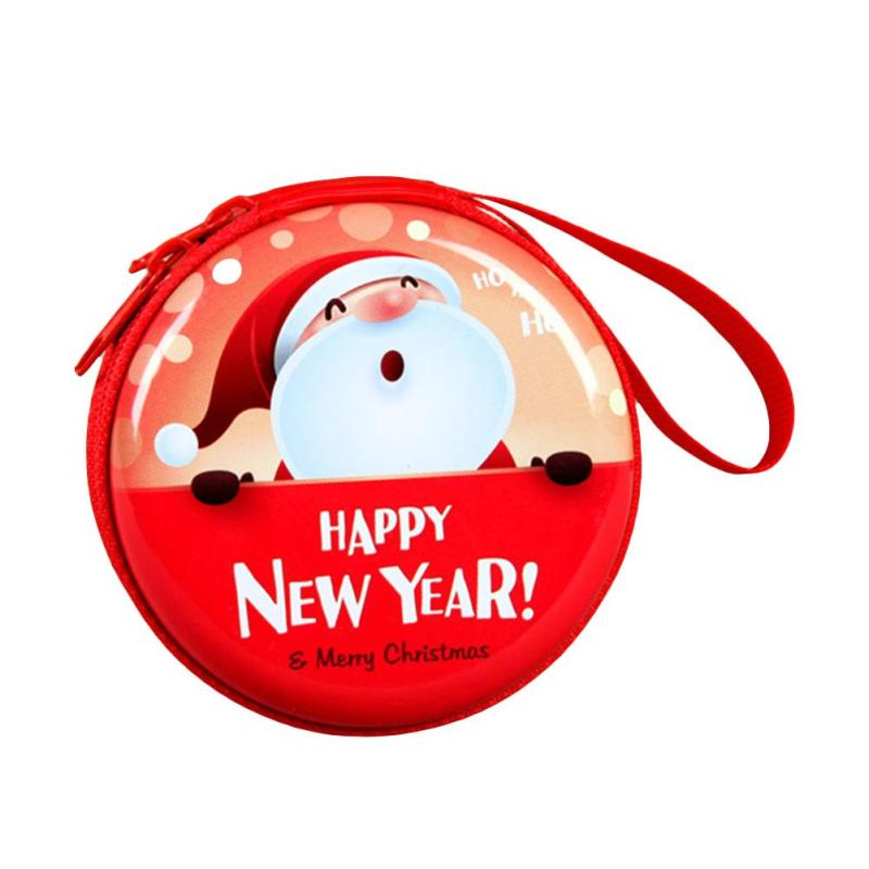 Red Color Christmas Children Coin Purse Santa Claus Cute Cartoon Printing Change Pouch Kids Gift Mimi Round Key Storage Bags Y5 waterproof cartoon cute thermal lunch bags wome lnsulated cooler carry storage picnic bag pouch for student kids