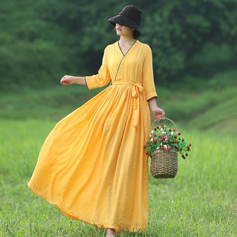 Style chinois robe kongfu plage robe femmes hanfu automne soie chanvre V robe taille haute jupe simple mode femmes robe de soirée
