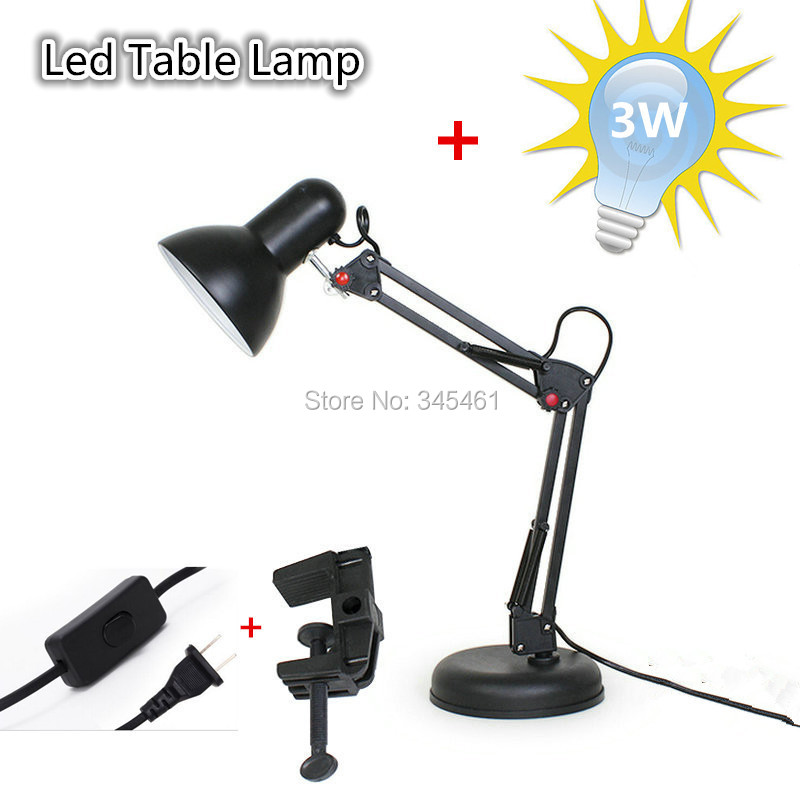 ФОТО 1XDesk Lamp AC110V-240V Eye Protection Led Table Lamp, American Style Iron Foldable Long-Arm E27 Desk Lamp with Clip + Free Bulb
