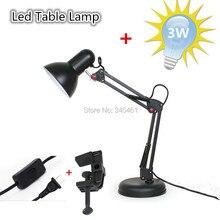 1 XDesk лампы AC110V-240V глаз-предохранение из светодиодов настольная лампа, Американский стиль железа складная с Arm E27 настольная лампа с зажимом + бесплатно лампа