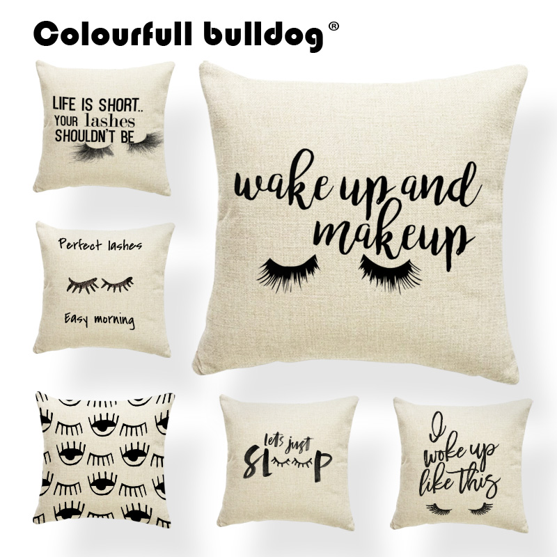 Eyes Cushion Covers Letter Pilows Glasses Hotel For Kids Pillow Covers Watercolor 43cm Polyester / Cotton Custom Printed Pillows