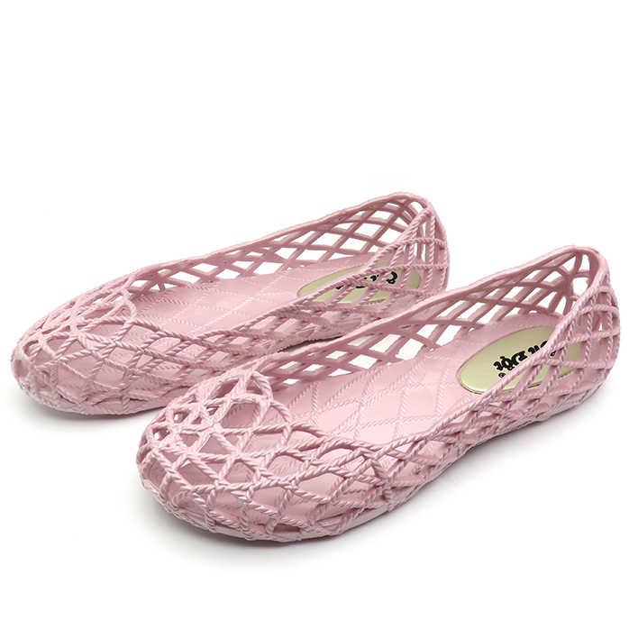 62fcea39a474 Women Flats Jelly Shoes Hollow Out Soft Ballerina Flats Slip-On Nurse Shoes  Female Summer