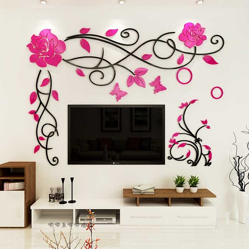 Rose Vine Acrylic 3d Wall Stickers Living Room Wedding Room Wall Painting Decoration Tv Background Diy Art Wall Decor Wall Stickers Aliexpress