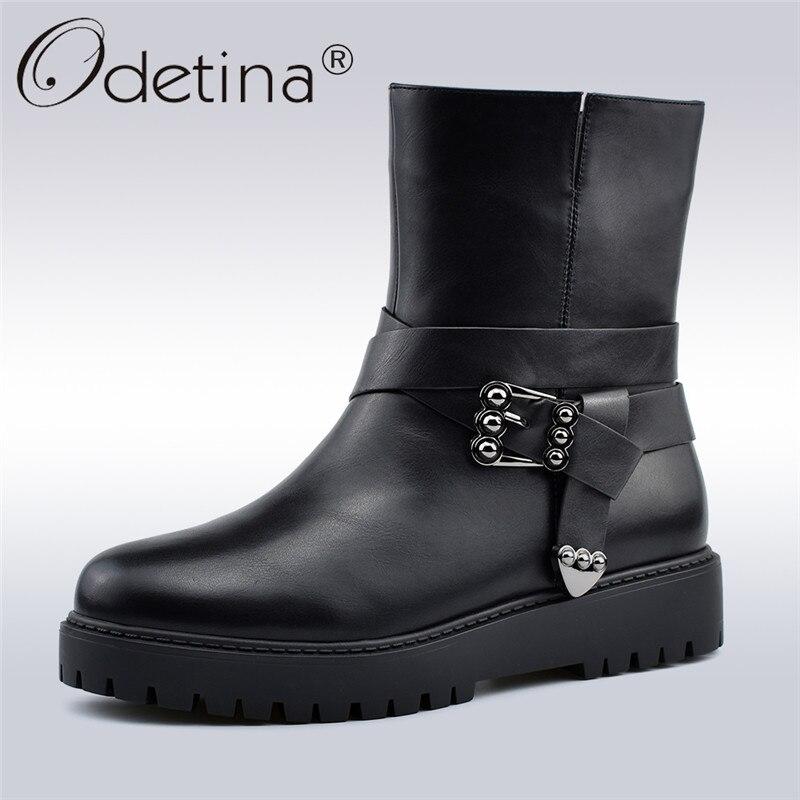c24adf080b89 Odetina Neue Mode Schnalle Stiefeletten Für Frauen Flache Plattform Weiche  Seite Zip Frauen Stiefel Winter Warm Plüsch Stiefel Große größe 41